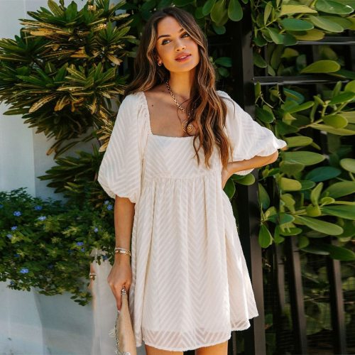 Embroidery Backless Lantern Sleeve Mini Dress Woman Summer Square Collar Sexy Short Dresses 2021 Casual Party Pullover Vestidos