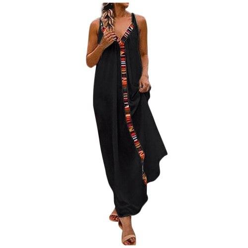 Women Summer Sleeveless V Neck Cotton Linen Casual Long Maxi Beach Dress Lady Tide Latest Fashion Beach Dress