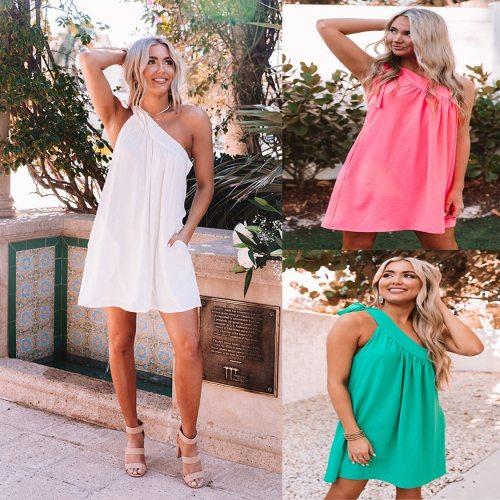 Sexy Mini Backless Dress Women Summer Lace Up One Shoulder Short Dresses Female Sleeveless Wrap Loose Dress Streetwear Vestidos