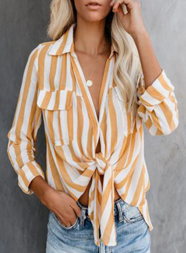 Long Sleeve Tops Shirt Women Stripe Spring 2021 Lace Up Sexy V Neck Casual Shirt Tops and Blouse Plus Size Women Clothin