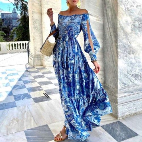 Blue Dress For Women's Slash Neck Dashiki Long Sleeve Beach Dress Beach Holiday Spring Summer New Bohemia Daily Leisure Vestidos