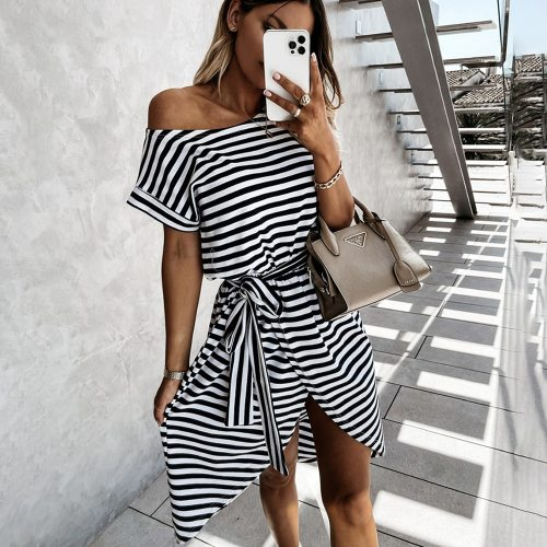 Casual Striped Summer Dress Women Short Sleeve Front Split Dress 2021 Fashion Sexy Off Shoulder Black Dresses Ladies Robe Femme