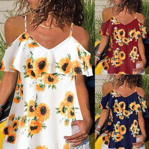New Sunflowers Printed Strap Blouses Women Plus Size Summer Beach Ruffles Casual Shirts White Red Off Shoulder Tops Blusas XXXL