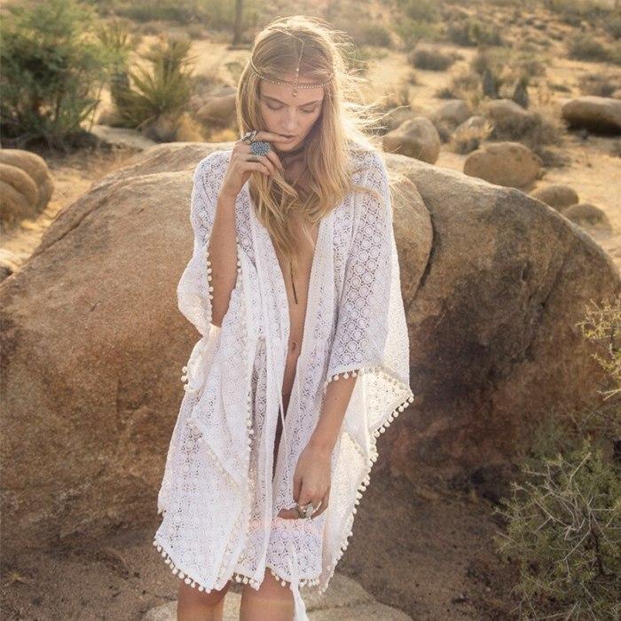 Lace beach skirt, women's overalls, fringed short lotus leaf sleeves hollow holiday robe bikini lace dress fine workmanship