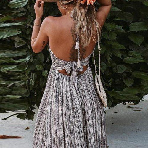 Sexy Backless Strapless Print Dress Summer Split Maxi Beach Sundress Dress Boho Long Dresses Vestidos Femme
