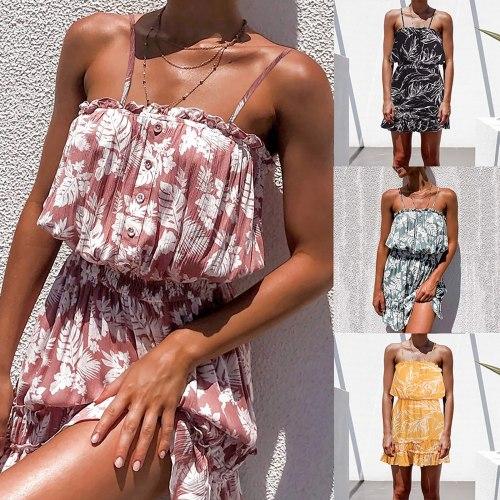 Summer Strapless Mini Dress Casual Fashion Boho Pprint Buttons Beach Dress Sundress Ladies Women Evening Party Dress Vestidos