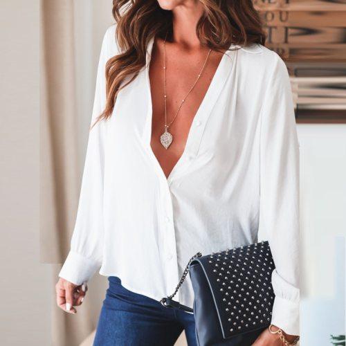 2021 New Women's Summer Shirt Lapel All-Match Long-Sleeved Fashion Trend Shirt Plus Size Chiffon Shirt