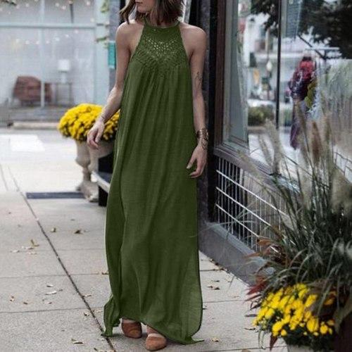 2021 Women's Dress Summer Fashion Hanging Neck Dress Sleeveless Lace Hollow Loose Large Dress Beach Sundress Vestidos Plus Size