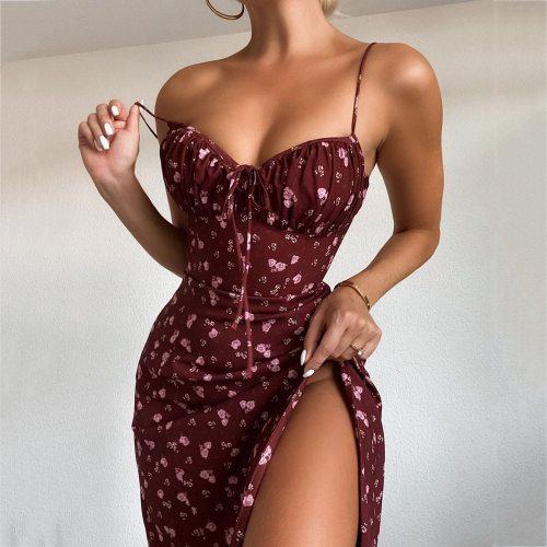 Vintage Spaghetti Strap Burgundy Floral Sundress Women High Split Front Midi Dress Summer Lady Sling Strapless Dress A-Line