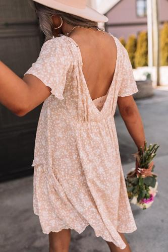 Sexy V-Neck Backless Floral Mini Dress Short Sleeve A-line Sundress Summer 2021 Sweet Ladies Clothing