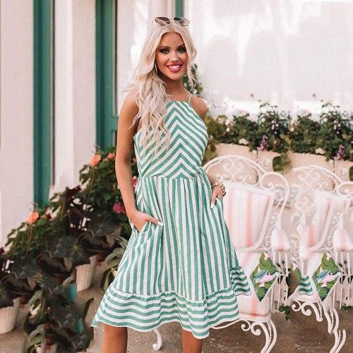 Women Summer Dress Sexy Backless Sleeveless Spaghetti Fashion Striped Ruffle 2021Beach Vacation Woman Temperament Casual Dresses