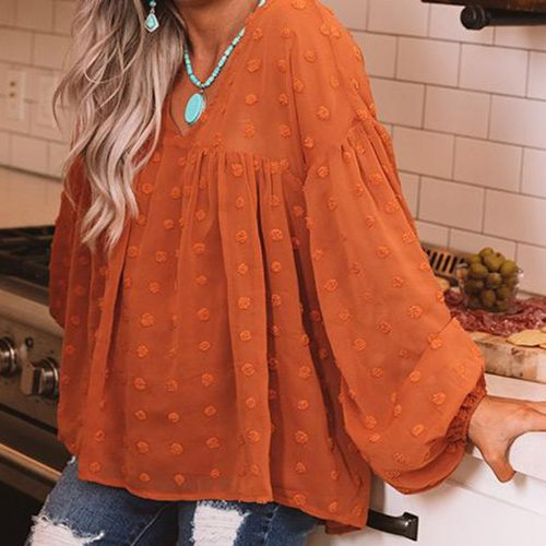 2021 Hot Sale New Women Shirts V-neck Lantern-sleeved Plus Size Lantern Sleeve Solid Blouse Ladies Tops Vintage Clothing Clothes