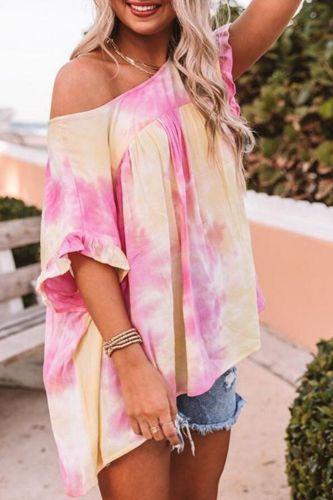 O-Neck Tie Dye Printed Short Sleeve Shirt Summer Off Shoulder Harajuku Flare Sleeve Tee Shirt Femme Streetwear Tops