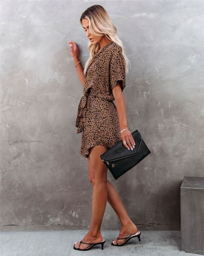New Printed Leopard Women Summer Dress Sexy Bat Sleeves Summer CLothes Casual Sashes  Dress