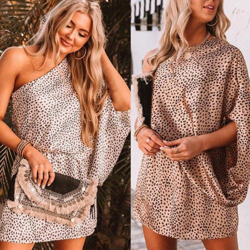 Sexy Leopard Print Dress Slanted Off Shoulder Backless Female Dress Dresses For Women Mini Bat Summer Short Clothes Sleeve B9L2
