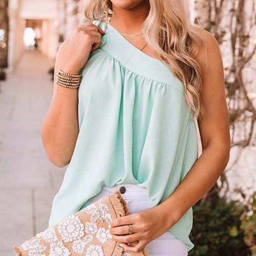 Summer Camis Ladies Clubwear Lace-up Tops Tees Women Vest One Shoulder Solid Color Tanks Tops Plus Size Loose