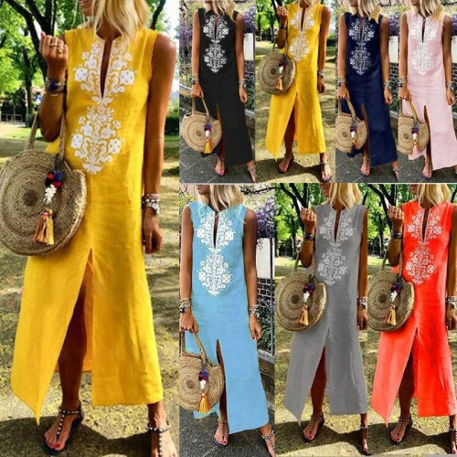 Women Sleeveless Embroidery V Neck Vintage Dress for Summer Holiday Party Dress