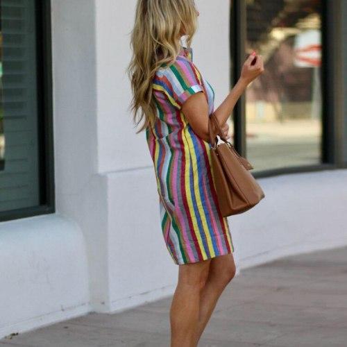 New Casual Sexy Color Stripes Summer Elegant Women Dress 2021 Clothes Sundress Party Short Dresses