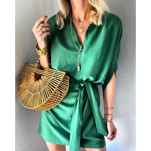 European American Women's Summer New Style Half-Sleeved Tie Satin Casual Pure Color Temperament Commuter Dress