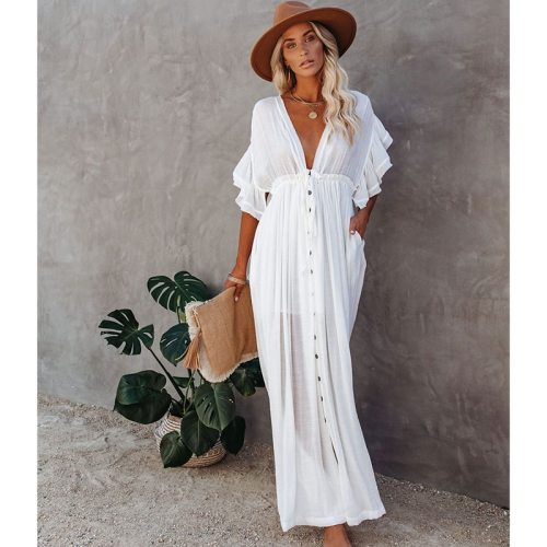 White Cover-ups Bikini Cover up Kaftan Women Long Maxi Dress Solid V neck Ladies Holiday Dress Robe Plage Tunic Women Beachwear