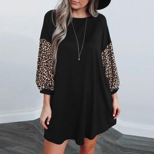 Women's Fashion Round Neck Casual Leopard Print Patchwork Color Dress Spring new seven-point sleeves O-Neck Dress 3/4 Sleeve