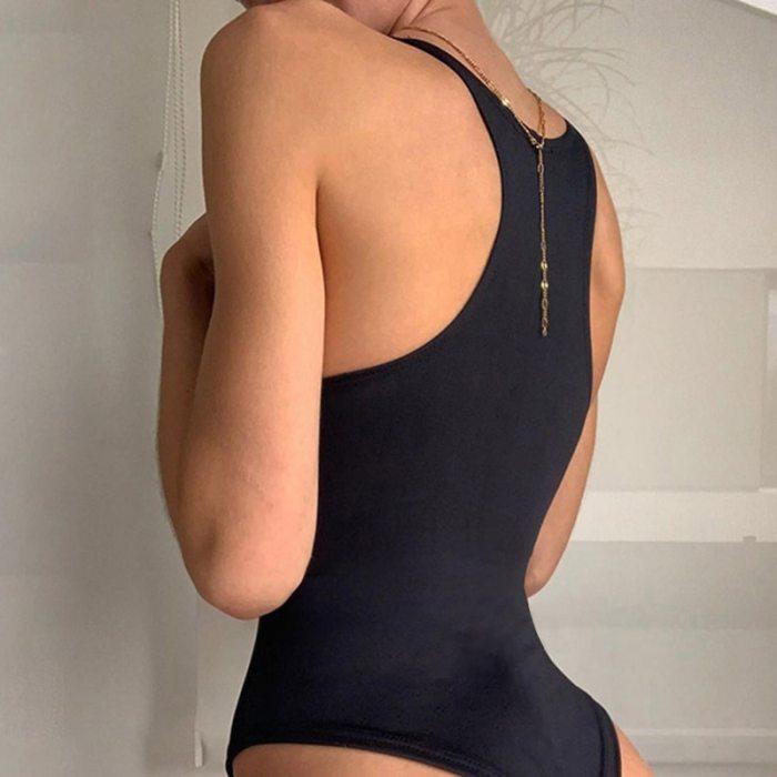 Clubwear Solid Harajuku Fashion Slim Bodysuits Women Sexy Skinny Jumpsuits Sleeveless Korean Fashion Outfits 2021 Cuteandpsycho