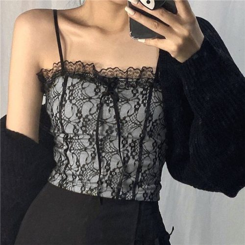 Women Sexy Camis Tops Summer Lace Trimming Spaghetti Straps Vest Sleeveless Formfitting Braces Slim Fit Short Camisole for Girls