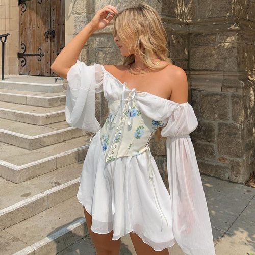 Beach Style Vintage Chiffon Dress With Corset Bandage Hollow Out Bustier Prairie Chic Flare Sleeve Dresses 2 Pieces Set