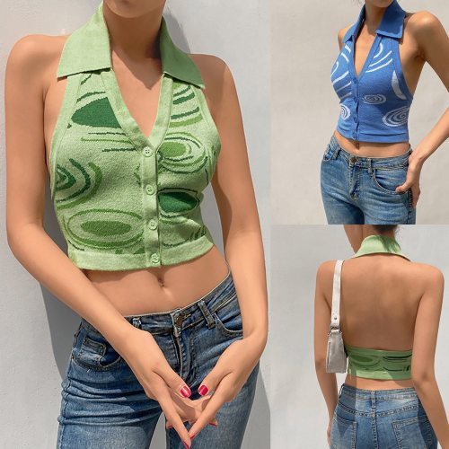 Women Tank Tops Knit Y2k Halter Neck Backless Blue V-neck Casual Sleeveless Halter Cardigan Camisole Vintage Sexy Tank Tops 2021