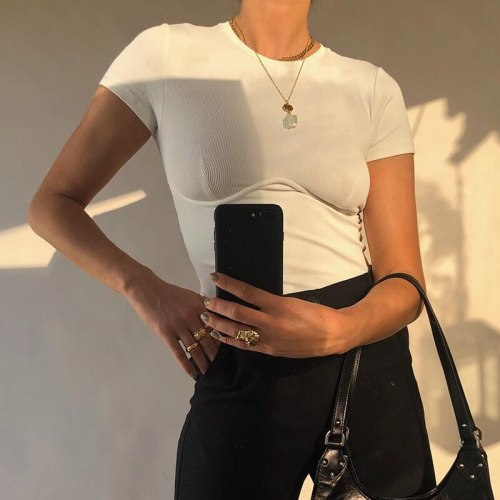 Women's Casual Short-Sleeved Basic Top Fashion Elegant Solid Color Cotton T-shirt S M  L