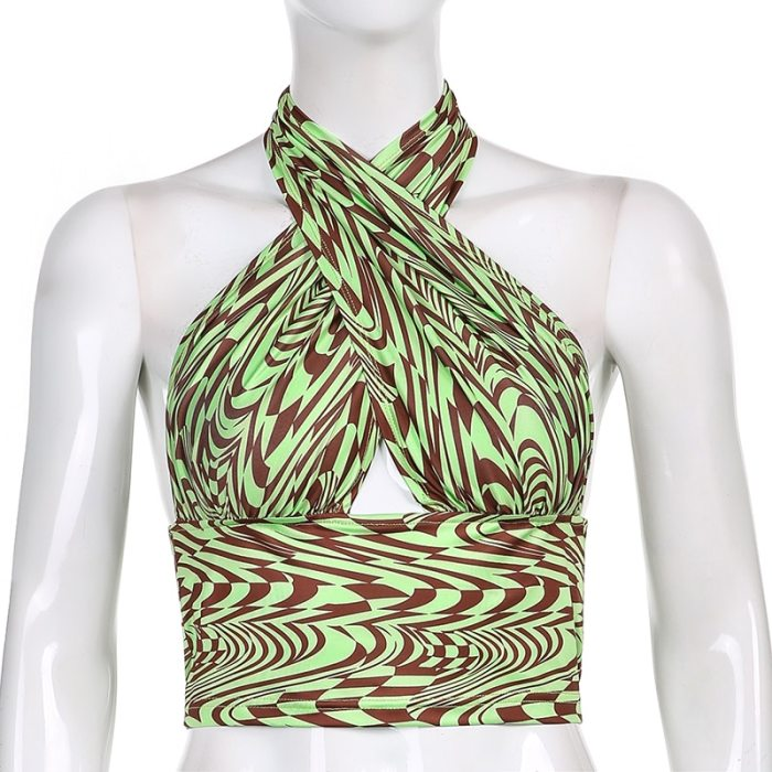 Paisley Printed Y2k Halter Crop Tops For Girls Hollow Out Sexy Women 2021Summer Backless Striped Party Shirt Tee Tank Beachwear