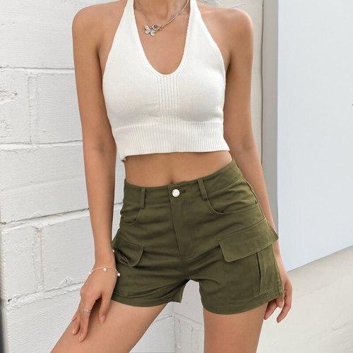 Casual Green Army Cargo Shorts Women Summer Pockets High Waisted Shorts Ladies Fashion Cotton Y2K 90s Streetwear 2021