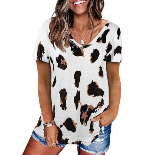 Woman Tshirts New Summer 2021 Europe Style Loose Off Short Sleeve T-Shirt Female Leopard Print Harajuku T Shirt