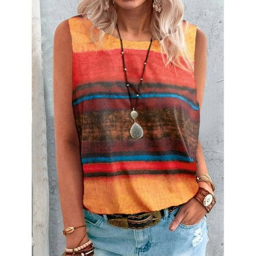 S-5XL Summer Casual Rainbow Gradient Sleeveless T-shirt Loose Pullovers Women Elegant Round Neck Vintage Stripe Print Streetwear