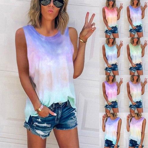 2021 Summer New Tie Dye Gradient Printing Sleeveless Vest Loose T-shirt for Women Regular  Sleeveless  Mercerized Cotton Casual