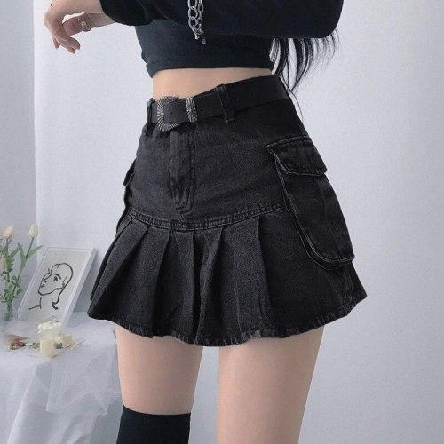 Y2K Black Jeans Pleated Skirts Big Pockets Denim Skirts Korean Cosplay Mini Skirts Women Harajuku Skirts Party Rave