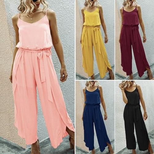 Summer Style Jumpsuits for Women Bodysuit Summer V-Neck Strap Wide Leg Side Slit Siamese Overalls