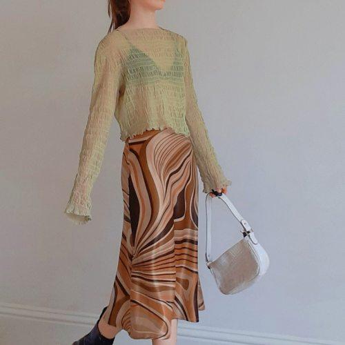 Retro Wave Print Y2K Summer Skirts Women Harajuku Korean High Waist Skirt Aesthetic Long Fashion Straight Clothes Cuteandpscho