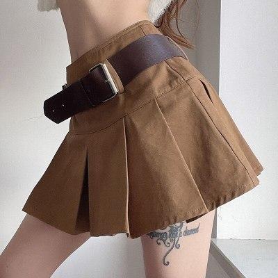 Khaki Women Pleated Skirts High Waist Harajuku Preppy Style Plain Color Streetwear Mini Skirt Sexy Party Club Outfits
