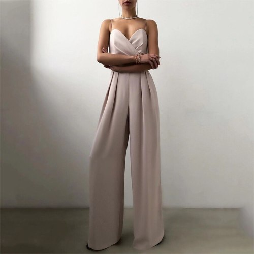 Solid Elegant Women Jumpsuit Off Shoulder Sexy Sleeveless Sling Romper Fashion Casual Summer Loose Office Lady Straight Playsuit