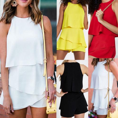 Women's Casual Solid Ruffles Clubwear Holiday Summer Sleeveless Mini Jumpsuit Beach Shorts