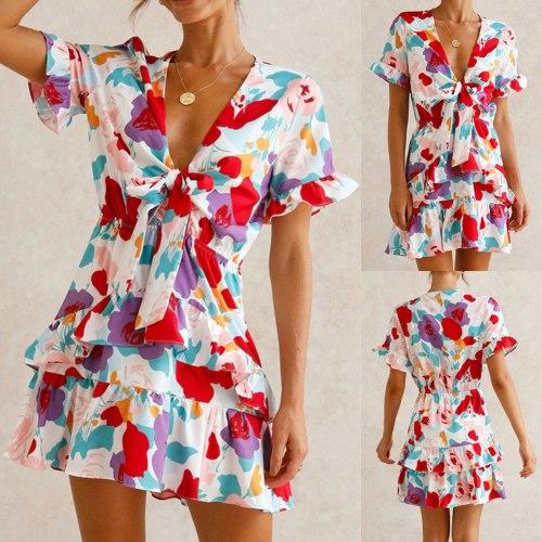 Women's Summer Bohemian Casual Floral Print Maxi Cocktail Beach Dress Sundress