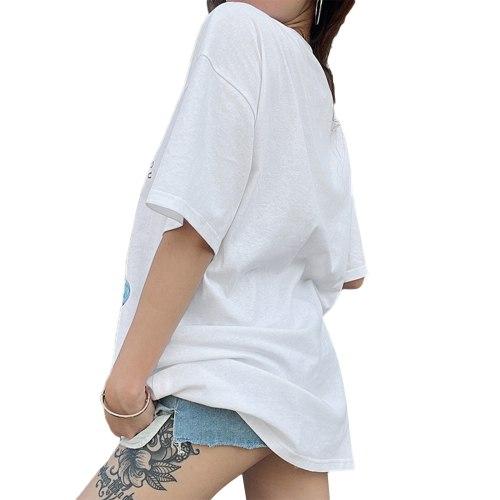 Summer Loose Women T-shirt Cat Print Short Sleeve Long Tee Shirt Round Neck Female Casual T Shirt Tee Top