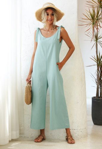 Women's bandage loose Jumpsuit straight tube solid round neck open back sexy Jumpsuit sleeveless new Jumpsuit women's wear