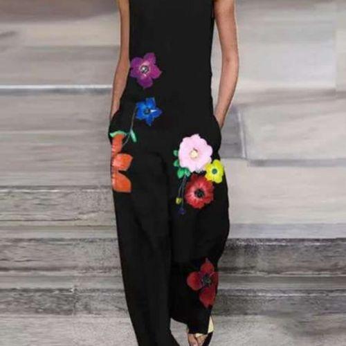 Jumpsuit Women Summer Sleeveless Print Flower Loose Pocket Female Causal Street Long Jumpsuits Lugentolo