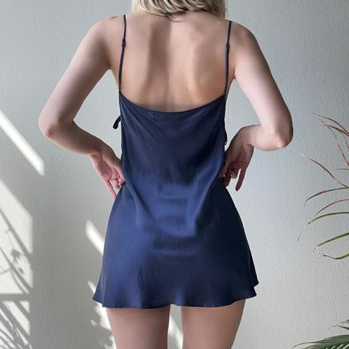 Bandage Side Drawstring Satin Strap Y2k Dress Women Sexy Backless 2021Summer Sleeveless Mini Elegant Party Dresses Beachwear