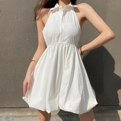 Summer Halter Mini Dress Women Sexy Backless Party Club Outfits A-Line Dress Solid White Streetwear 90s Ball Gown Dress
