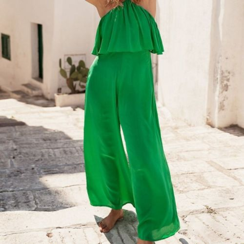 2021 New Spring Fashion Sexy Leisure New Fashion Chest Wrapped Suspender Jumpsuit Loose And Comfortable Women'S Clothing