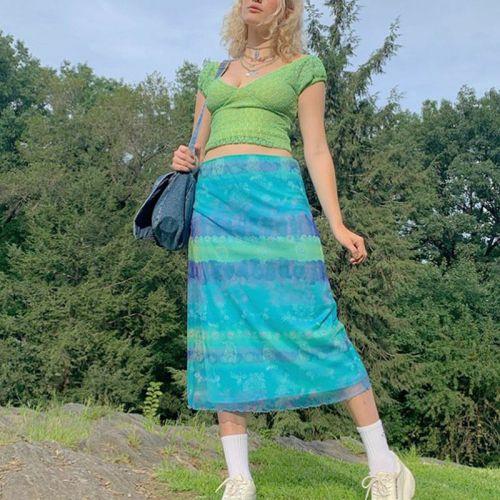 Floral Print Striped Midi Skirt Women Y2K Mesh High Waisted Short Skirts Ladies Floral Print Fashion Cute Holiday 90s
