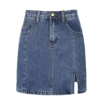 Fashion Plus size women's Denim Mini Skirt Woman's Sexy High Waist Slim Irregular Split Harajuku Denim Skirt Casual Hakama